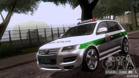Volkswagen Touareg Policija para GTA San Andreas vista interior