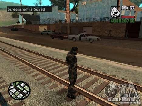 Crysis Nano Suit para GTA San Andreas por diante tela