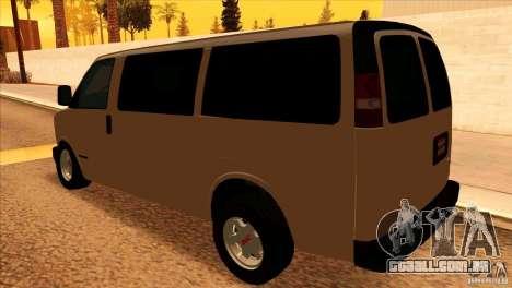 GMC Savanna 2500 para GTA San Andreas traseira esquerda vista