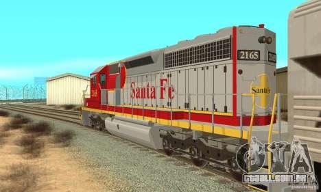 SD40 Santa Fe para GTA San Andreas traseira esquerda vista