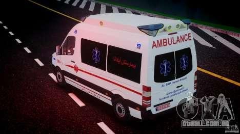 Mercedes-Benz Sprinter Iranian Ambulance [ELS] para GTA 4 motor