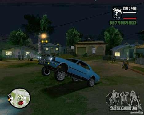 Capacidade de levantar o carro para o buck para GTA San Andreas