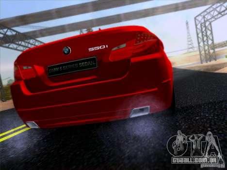 BMW 550i 2012 para GTA San Andreas traseira esquerda vista