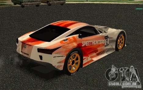 Lexus LFA Speedhunters Edition para GTA San Andreas vista direita