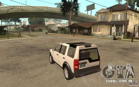 Land Rover Discovery 3 V8 para GTA San Andreas traseira esquerda vista