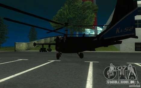 KA-52 ALLIGATOR v1.0 para GTA San Andreas traseira esquerda vista