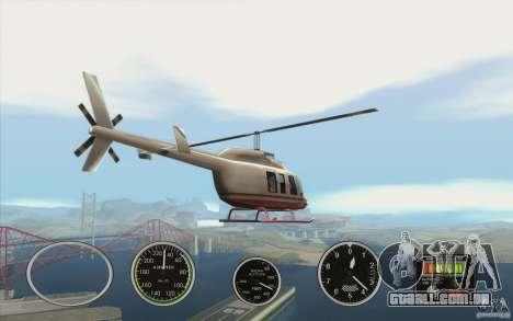 Instrumentos de ar em um avião para GTA San Andreas por diante tela