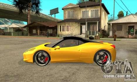 Ferrari 458 Italia custom para GTA San Andreas esquerda vista