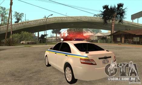 Toyota Camry 2010 SE Police UKR para GTA San Andreas traseira esquerda vista