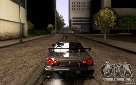 Nissan Skyline GT-R34 para GTA San Andreas vista inferior