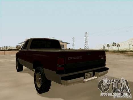 Dodge Ram 2500 1994 para GTA San Andreas vista interior