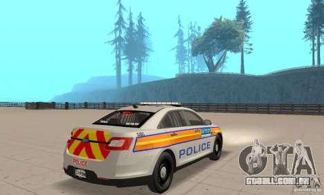 Ford Taurus 2011 Metropolitan Police Car para GTA San Andreas