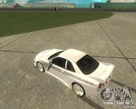 Nissan Skyline R34 Veilside street drag para GTA San Andreas vista direita