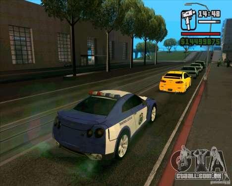 Nissan GTR35 Police Undercover para GTA San Andreas esquerda vista
