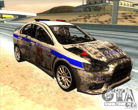 Mitsubishi Lancer Evolution X PPP polícia para GTA San Andreas vista inferior