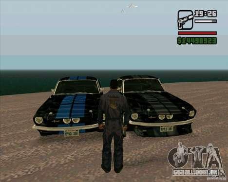 Shelby Mustang GT500 1967 para GTA San Andreas traseira esquerda vista