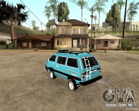 Toyota Town Ace para GTA San Andreas traseira esquerda vista