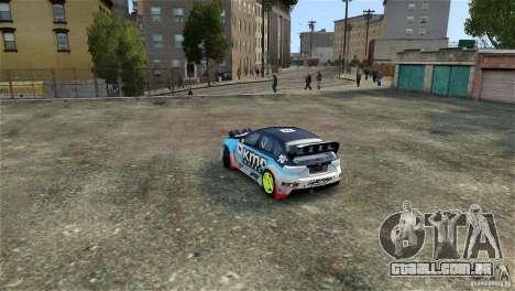 Subaru Impreza WRX STI Rallycross KMC Wheels para GTA 4 vista interior