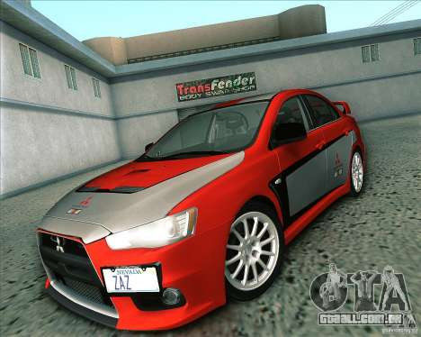 Mitsubishi Lancer Evolution X 2008 para GTA San Andreas vista interior