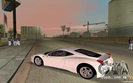 Ferrari 458 Italia para GTA Vice City vista traseira esquerda
