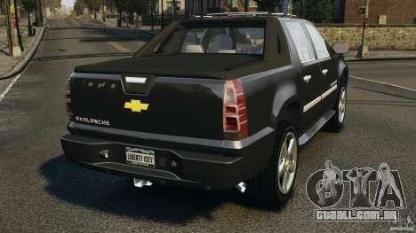 Chevrolet Avalanche Stock [Beta] para GTA 4 traseira esquerda vista