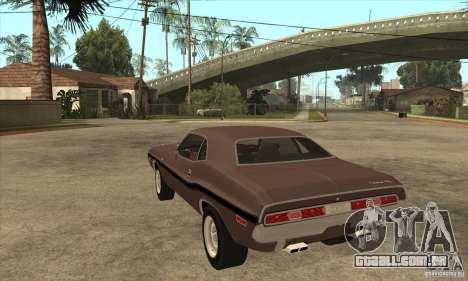 Dodge Challenger R/T Hemi 426 para GTA San Andreas traseira esquerda vista