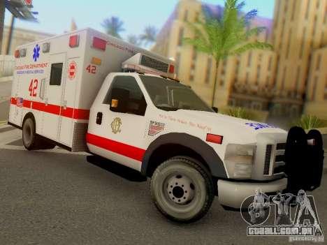 Ford F350 Super Duty Chicago Fire Department EMS para GTA San Andreas vista traseira