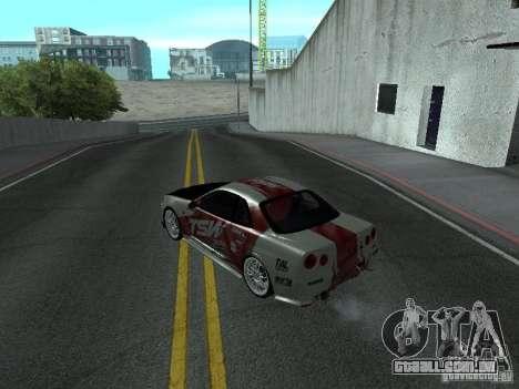 Nissan Skyline R 34 para GTA San Andreas traseira esquerda vista
