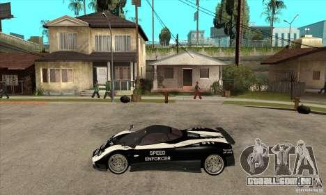 Pagani Zonda F Speed Enforcer BETA para GTA San Andreas traseira esquerda vista
