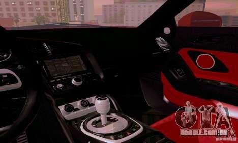 Audi R8 V10 Spyder 5.2. FSI para GTA San Andreas vista superior