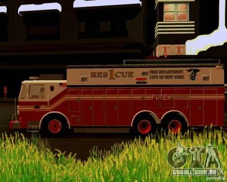 Pumper Firetruck Pierce F.D.N.Y para GTA San Andreas vista direita