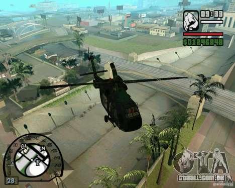 Blackhawk UH60 Heli para GTA San Andreas vista direita