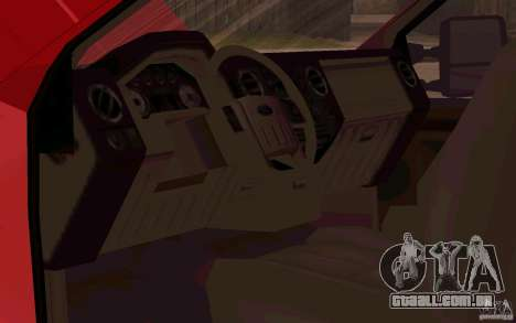Ford F250 Super Dute para GTA San Andreas vista interior
