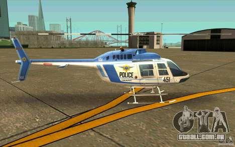 Bell 206 B Police texture1 para GTA San Andreas traseira esquerda vista