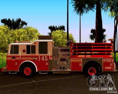 Pumper Seagrave Marauder F.D.N.Y para GTA San Andreas vista traseira