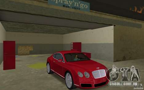 Bentley Continental GT (Final) para GTA Vice City vista traseira