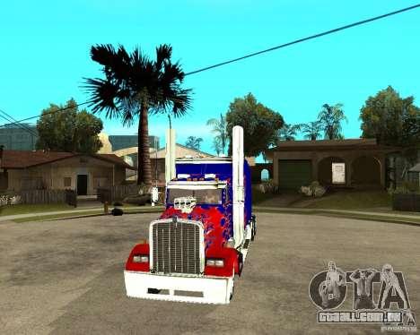 Truck Optimus Prime para GTA San Andreas vista traseira