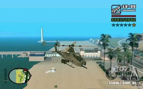 Bell AH-1Z Viper para GTA San Andreas traseira esquerda vista