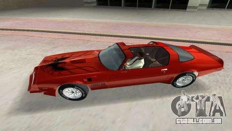 Pontiac Trans Am 77 para GTA Vice City vista interior