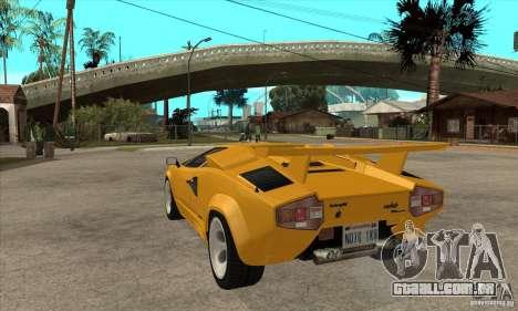 Lamborghini Countach para GTA San Andreas traseira esquerda vista