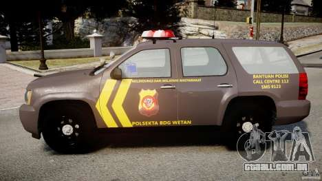 Chevrolet Tahoe Indonesia Police para GTA 4 esquerda vista