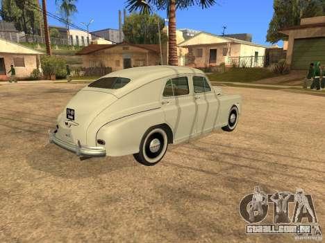 GAZ M20 Pobeda 1949 para GTA San Andreas vista traseira