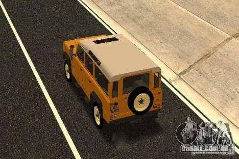 Land Rover Defender 110 para GTA San Andreas traseira esquerda vista