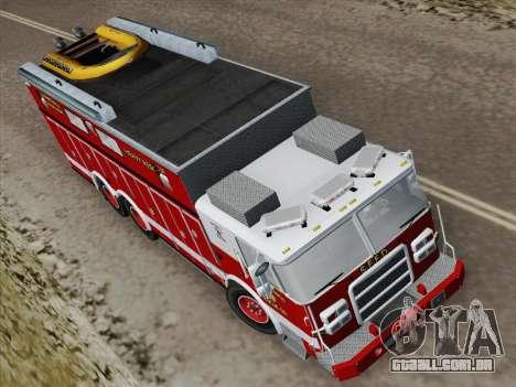 Pierce Walk-in SFFD Heavy Rescue para GTA San Andreas vista traseira