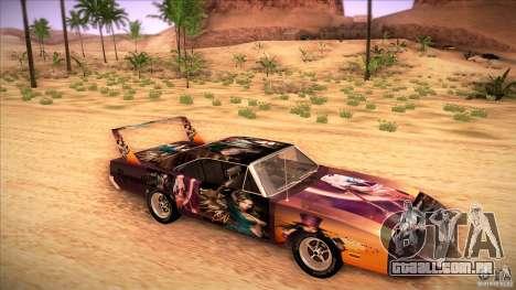 Plymouth Roadrunner Superbird Custom para GTA San Andreas vista traseira