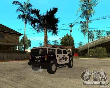 AMG H2 HUMMER SUV SAPD Police para GTA San Andreas vista direita