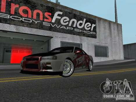 Nissan Skyline R 34 para GTA San Andreas esquerda vista