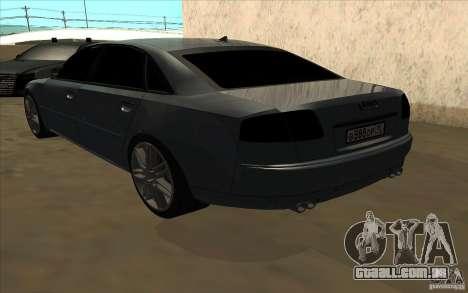 Audi A8l W12 6.0 para GTA San Andreas vista traseira