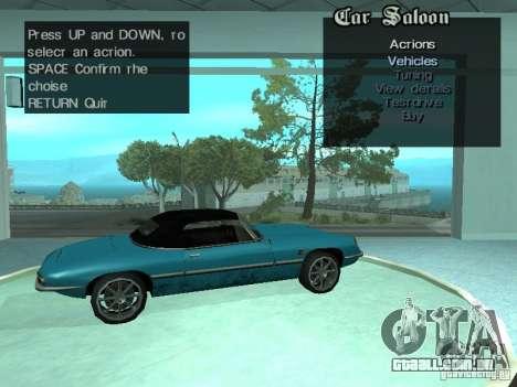 Salão do automóvel para GTA San Andreas nono tela