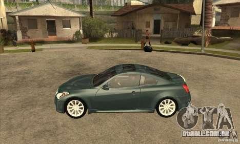 Infiniti G37 Coupe Sport para GTA San Andreas esquerda vista